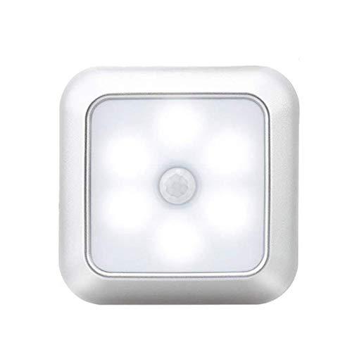 Msleep - Lámpara de pared con sensor de movimiento y 6 luces LED para casa, plata, White Light