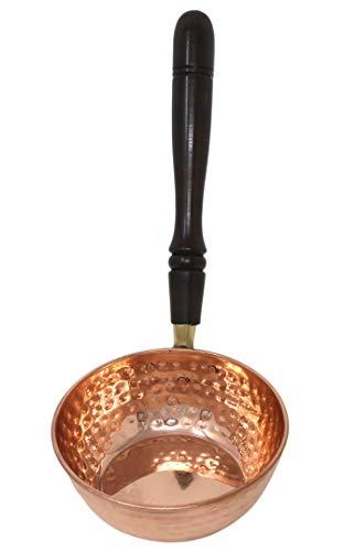 Poêle en cuivre avec poignée en bois Cuisine indienne ustensile de cuisine Contenance 300 ml
