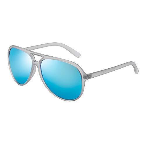 JIM HALO Polarizadas Aviador Gafas de Sol Hombre Mujer Oversize Plástico Conduciendo Anteojos(Marco Transparente Mate/Lente Azul Polarizado)