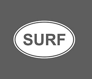 CRDesign SURF Euro Oval Surfer Surfing Wave Ocean Sea Beach Hawaii Island Girl Decal Sticker for Truck SUV Car Bumper Window