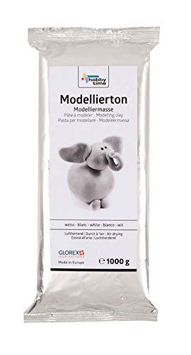 Glorex 6 1780 712 - Modellierton, 1 kg in weiß, gebrauchsfertige lufthärtende Modelliermasse, natürlich, weich und geschmeidig, nach der Trocknung bemalbar