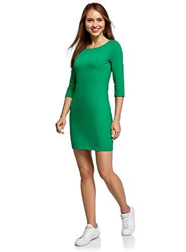 oodji Ultra Women's Basic Jersey Dress, Green, UK 6 / EU 36 / XS
