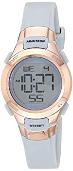 Armitron Sport Women s 45/7012PBL Rose Gold-Tone Accented Digital Chronograph Powder Blue Resin Strap Watch