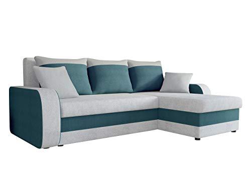 Ecksofa Kristofer Lux, Eckcouch Couch! mit Schlaffunktion, Zwei Bettkasten, Farbauswahl, Wohnlandschaft! Bettfunktion! Design L-Form Sofa! Seite Universal! (Enzo 162 + Enzo 155.)
