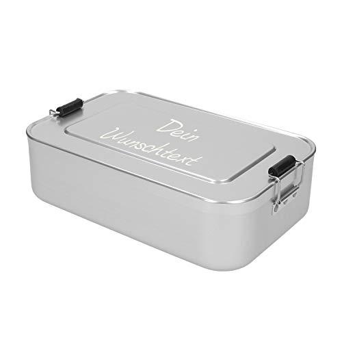 elasto Große Personalisierte Vesperbox mit Gravur | BPA-Freie Brotdose mit Namen 23 x 15 x 7cm Brotzeitbox Metall für Kinder und Erwachsene | Tolles Geschenk für Schule, Kindergarten Arbeit (Silber)