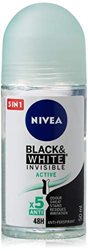 NIVEA Black & White Invisible Active Roll-on (1 x 50 ml), desodorante roll on antitranspirante para mujer, desodorante 48h con protección antibacterias