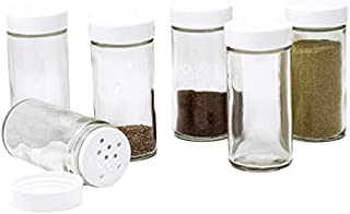 Glass Spice Jars- Set of Six Glass Spice Bottles