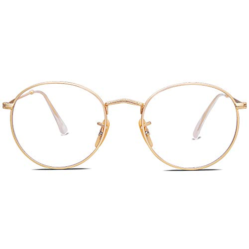SOJOS Occhiali Anti Luce Blu Rotondi Vintage Occhiali da Vista per Donna SJ5024 con Oro Telaio/Lente anti-blu