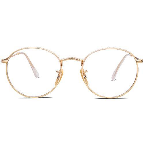SOJOS Blaulichtfilter Brille Damen Herren Computerbrille Vintage-orientiertes Rund Design SJ5024 mit Gold Rahmen/Anti Blaulicht Linse