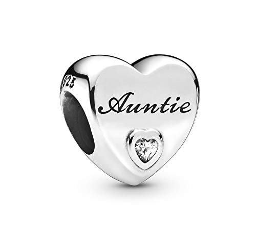 MiniJewelry Auntie Love Heart Charm for Bracelets Sterling Silver Women Heart Charm, Clear CZ