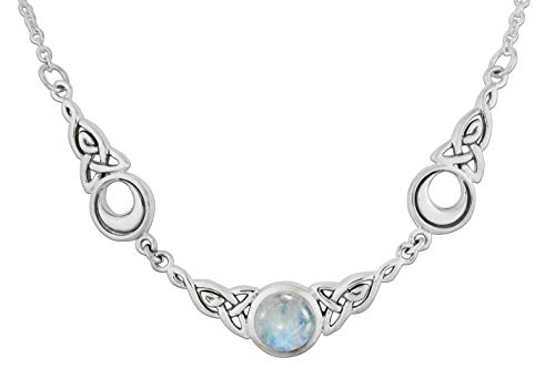 Sterling Silver Celtic Knot Triple Crescent Moon Neclace with Rainbow Moonstone; 18 Inches Long