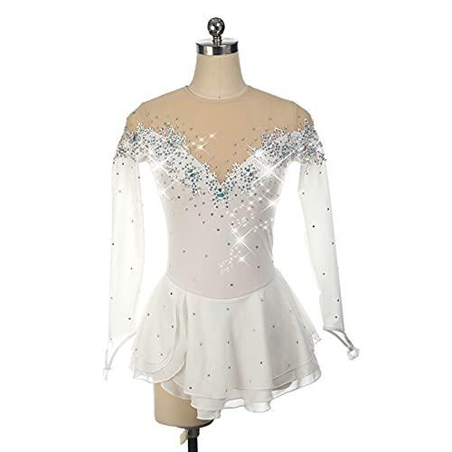 SHUKOES Damen Tanz Trikot Kleid Shiny Customized Eiskunstlauf Kleid(Weiß),Weiß,XS