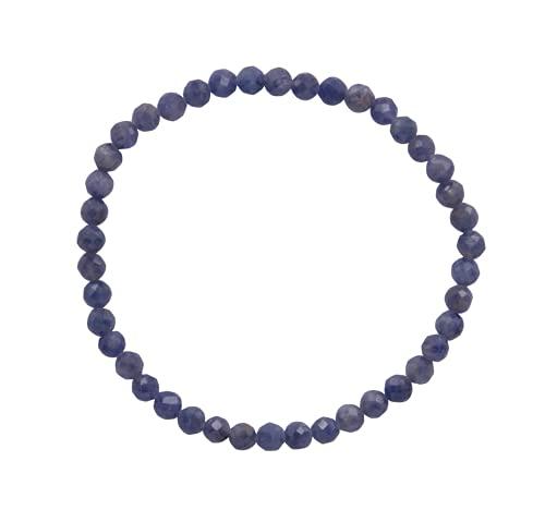 Taddart Minerals Pulsera de piedra preciosa natural de zafiro azul y gris con cuentas facetadas de 4 mm colocadas en hilo elástico de nailon – Hecho a mano