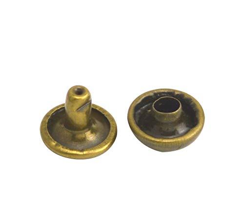 Wuuycoky Juego de 300 remaches de metal de bronce con tapa doble, 8 mm y poste de 6 mm