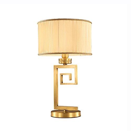 CSD Lámpara de mesa de cobre amarillo del estilo chino de la manera retra Dormitorio de la cabecera de estudio de estudio Lámparas de iluminación decorativas de lujo E27