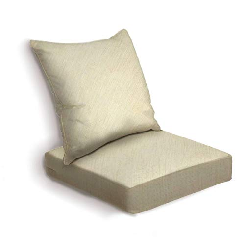 ONENPENRI 2-Piece Outdoor Deep Seat Cushion Set Beige Background with Delicate Wood parquet Texture Back Seat Lounge Chair Conversation Cushion for Patio Furniture Replacement Seating Cushion
