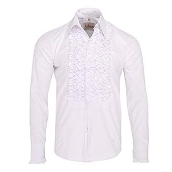 Zen Retro Mens Ruffle Ruche Frill Tuxedo Shirt White UK XL  USA L
