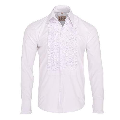 ZenRetro Hombre Camisa de Esmoquin de Gala con Volantes