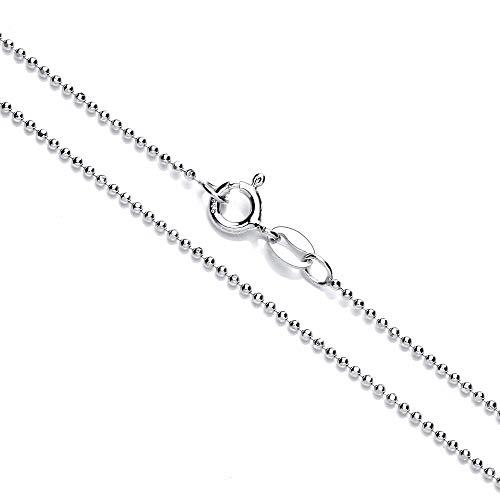Collar cadena pulsera tobillera Tipo Bola corte de diamante de fina plata de ley 925 1mm Bisutería Italiano Mujer Hombre - 15, 20, 25, 30, 35, 40, 45, 50, 55, 60, 65, 70, 75, 80, 85, 90, 95, 100cm