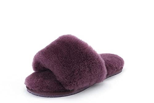 COQUI Zapatillas casa Hombre Bota,Cabello de Piel de Oveja alisado de Pelo Zapatos de Deslizamiento Femenino de Moda Salvaje de un Solo término algodón-UVA Violeta_35