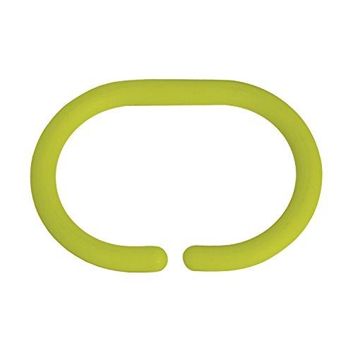 MSV Duschvorhangringe 12 Stück Grün Kunststoff - Passend für alle gängigen Duschvorhangstangen