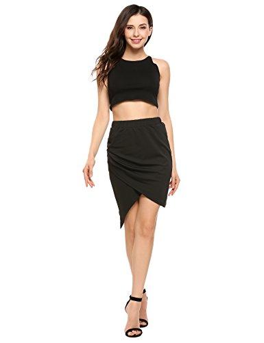 Zeagoo Womens High-Low Cut Out Asymmetric Stretchy Short Bodycon Pencil Skirt,Black,Medium