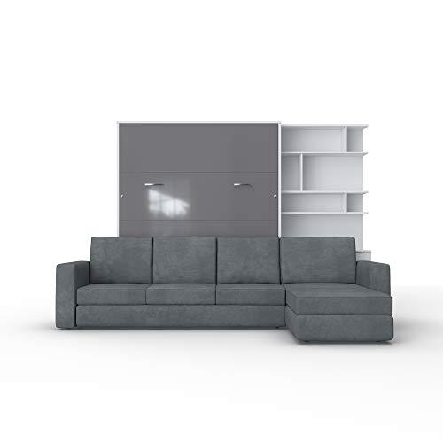 Schrankbett mit Sofa Wlappbett inklusive Ecksofa Gästezimmer Wohnzimmer Schlafzimmer 160x200 (Weiß/Grau Glanz)