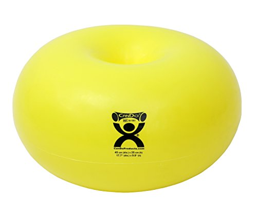 CanDo Donut Exercise, Workout, Core Training, Swiss Stability Ball for Yoga, Pilates and Balance Training in Gym, Office or Classroom.  Yellow, 45 cm W x 25 cm