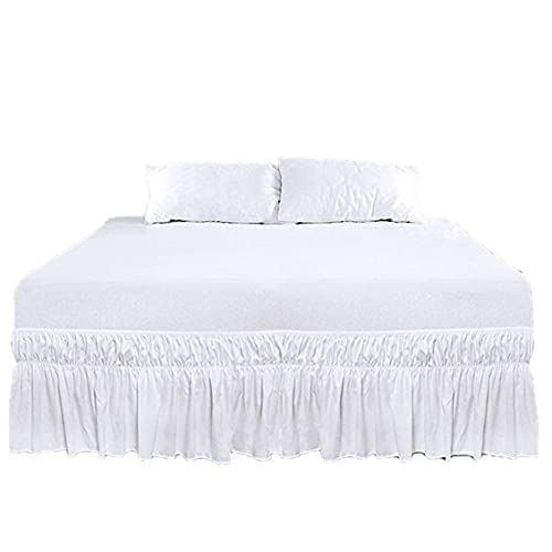 NIDONE Cenefa Cama elástica Faldas de Volantes Polvo Cama Alrededor Wrap con Correas Ajustables Blanca de Doble tamaño 190.5x99cm