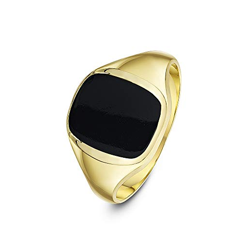 Theia Men's 9 ct Yellow Gold Cushion Shape Black Onyx Stone Signet Ring with 12 x 10 mm, Size R