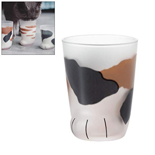 Ysoom Cat Paw Glass Cup, Katzenkaffee Mug Wall Glas Cup Heat resistent Handmade Creative Milk Mug Tea Whiskey Glass Cup Present Tassen, Valentines Gift 300ml