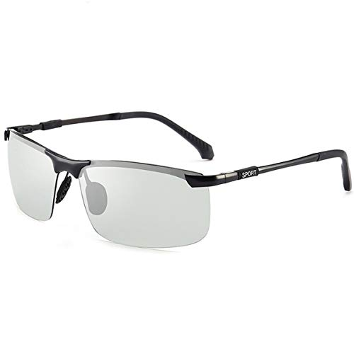 Hengtaichang Sunglasses NEW Brand Photochromic Sunglasses Men Polarized Chameleon Discoloration Sun Glasses For Men Fashion Rimless Square Sunglasses Black frame