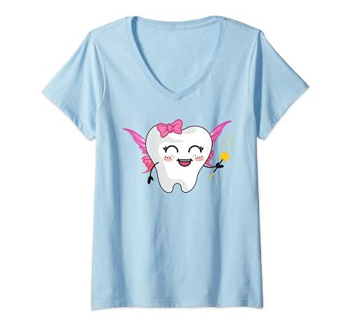 Mujer Diente de hadas para disfraz de Halloween Camiseta Cuello V