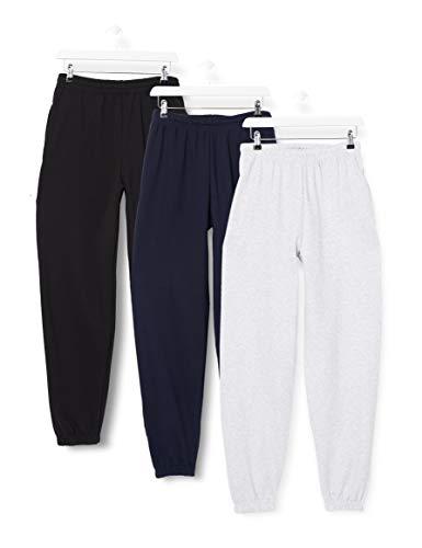 Fruit of the Loom Classic Jog Pants, 3 Pack Pantaloni Sportivi, Multicolore (Black/Deep Navy/Heather 2I), W28 (Taglia Produttore: Small) (Pacco da 3) Uomo