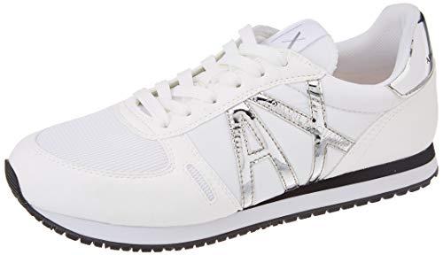 Armani Exchange Damen Rio Retro Running Sneaker, White+Silver, 36 EU