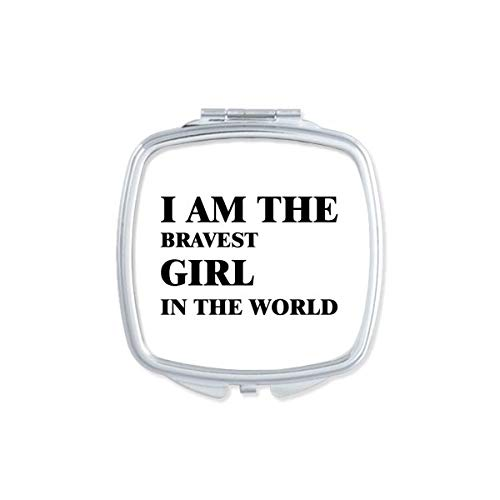 DIYthinker Je suis Le Maquillage Compact Fille Bravest Miroir carré Portable Mignon de Cadeau Miroirs de Poche à la Main Multicolor