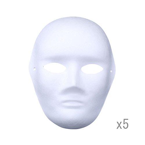 Meimask Bricolaje Papel Blanco máscara de Pulpa en Blanco máscara Pintada a Mano Personalidad Creativa máscara de diseño Libre 5 Piezas (5 Piezas, Los Hombres)