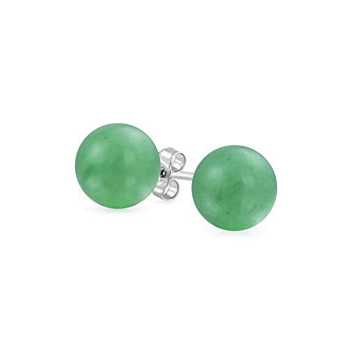 Tisoro Sterling Silver Green Jade Ball Stud Earrings in 4mm, 6mm and 10mm - Jade Earrings - Hypoallergenic Earrings (6mm)