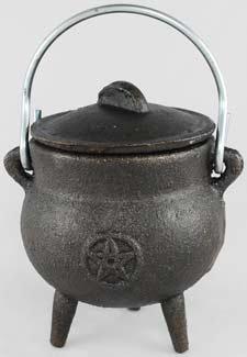 Mágico joyería Pot bebé Caldero Earth Pentacle de hierro fundido con tapa y asa 7,6cm
