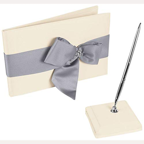 David's Bridal Regal Ties Guest Book and Pen Set Style DB75GBP, Ivory/Silver