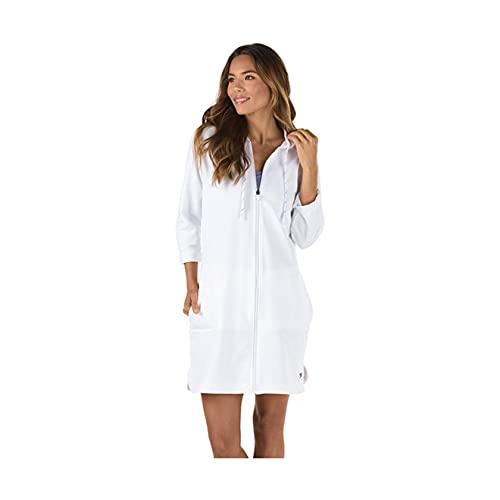 Speedo Women's Uv Cover Up Aquatic Quarter Sleeve Robe Solid, White, Large