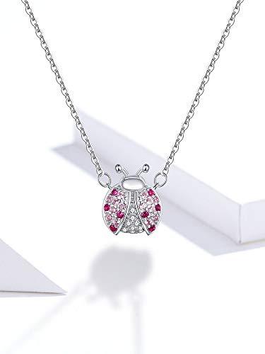 BJGCWY Echte 925 Sterling Silber Pink Marienkäfer Insektenkette Anhänger Halskette für Frauen 45cm Kindergeschenke Feiner Schmuck