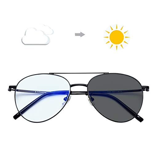 BWBZ Color Changing Reading Glasses Multi-Focus Anti-Blue Reading Glasses Resin Lenses Anti-UV Radiation Protection Relieve Fatigue Pure Titanium Frame Auto Zoom