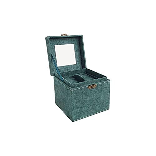 KWOPA Boîte à Bijoux Boîte de Rangement Organisateur Cuir Verte Collier Collier Bijoux Boîte de Rangement Haute capacité Capacité Emballage Boîte Convient aux étudiants et aux employés de Bureau