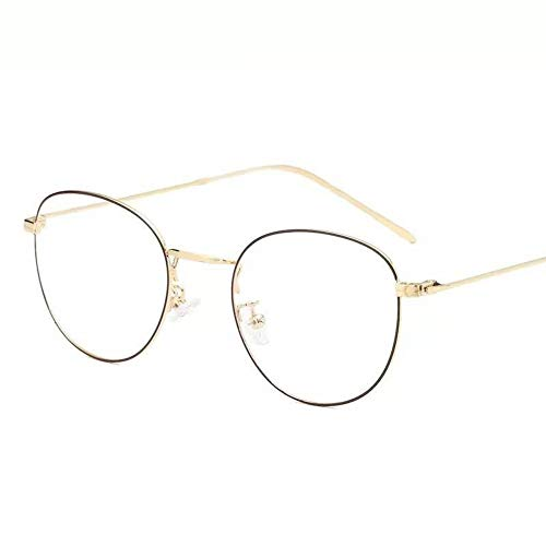 Protección contra la radiación gafas marea marco redondo metal anti-azul luz plana gafas doradas