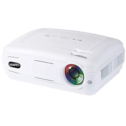 DBGS bewegende projector, multimedia film-projector compatibel home theater 1080p ondersteuning luidspreker compatibel met tablet/TV Stick/DVD-speler