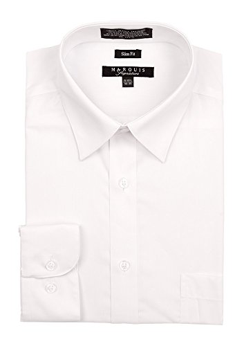 Marquis Men's Basic Slim Fit Dress Shirt 15.5 Neck / 32-33 Sleeve White