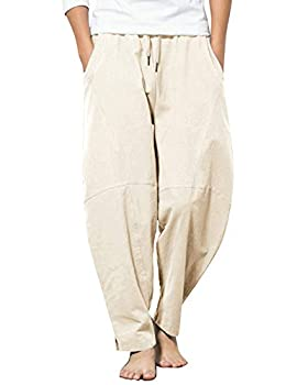 COOFANDY Men Drawstring Casual Loose Pant Stretchy Cotton Linen Harem Trousers