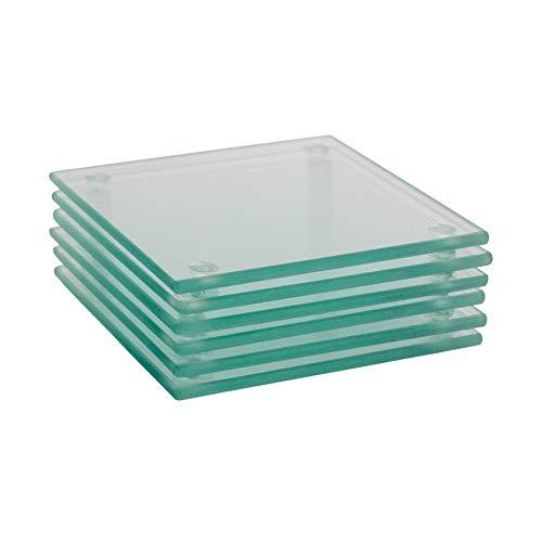 Harbour Housewares Glasuntersetzer - quadratisch - Durchsichtig - 6 Stück