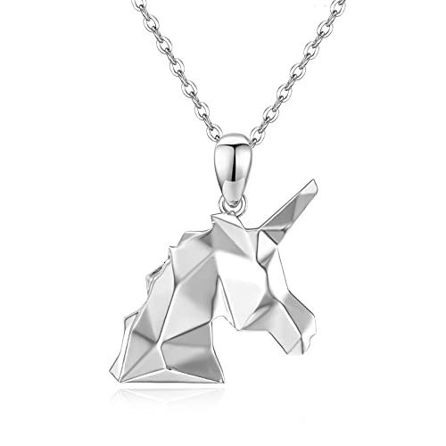 Colgante de unicornio de plata de ley 925, cadena de unicornio, regalo para niñas, origami, animales de origami, collar de unicornio, joyas para mujeres, niños, novia, hija